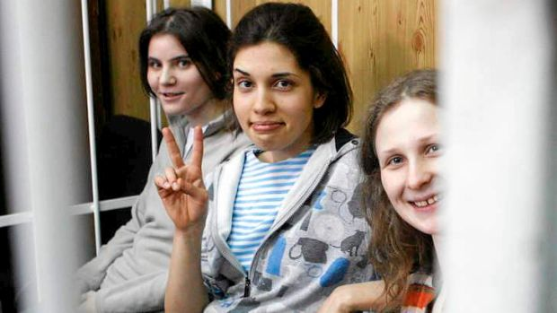 Members of  punk band Pussy Riot (from left) Yekaterina Samutsevich, Nadezhda Tolokonnikova and Maria Alyokhina in a ...