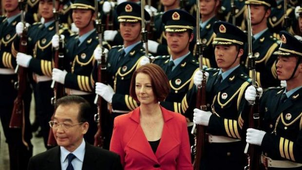 Far-reaching spying campaign ... China's premier, Wen Jiabao, with Julia Gillard in Beijing.