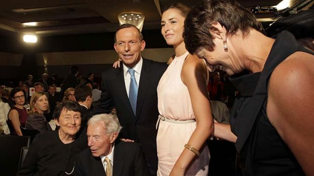 Tony Abbott with his wife Margie, daughter Frances and parents Fay and Richard.