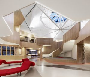 The new building has retained its distinctive 1960s feel.