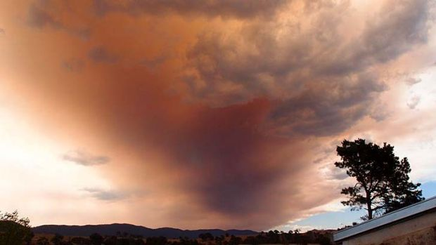 Smoke from the bushfire in the Mount Hotham, Hotham Heights and Dinner Plain area.