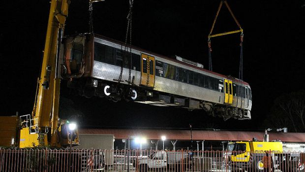 A train is lifted out of Cleveland station. Photo: Brian Hurst