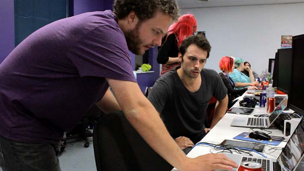 For the love of the game ... jammers collaborate at this year's Global Game Jam in Melbourne.