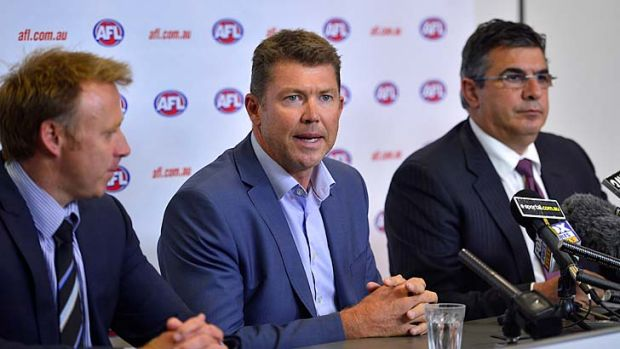 AFLPA CEO Matt Finnis , Collingwood CEO Gary Pert and AFL CEO Andrew Demetriou.