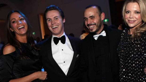 Party set … Oliver Curtis (second from left) with Rachel Gilbert and Fernando Barraza at the Cleo Bachelor of the ...