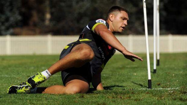 Raiders recruit and Indigenous All-Star Jake Foster at Canberra training.