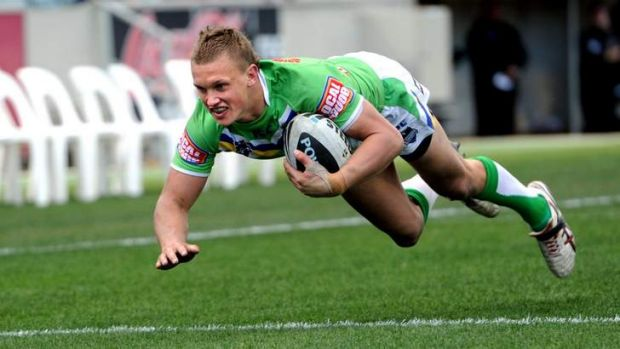 Raiders youngster Jack Wighton scores a try during his breakout year in 2012.
