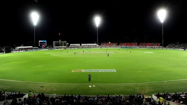 Manuka Oval is lit up for a sporting contest for the first time for the Prime Minister's XI.