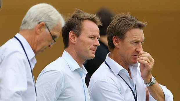 Top brass … John Inverarity, Pat Howard and Andy Bichel.