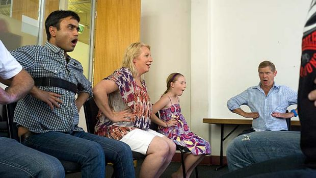 Deep breath … Rohit Shah, Tania Wright, Hayley Ramsay and Chris Gerraty take part in a McGuire stuttering exercise.