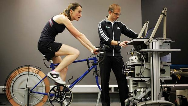Cycling through treacle? ... Kate Carter under test conditions.