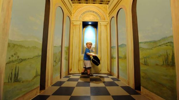 Young David from Victoria explores the kids' area at the NGV.