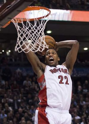 Slamming: Toronto's Rudy Gay.