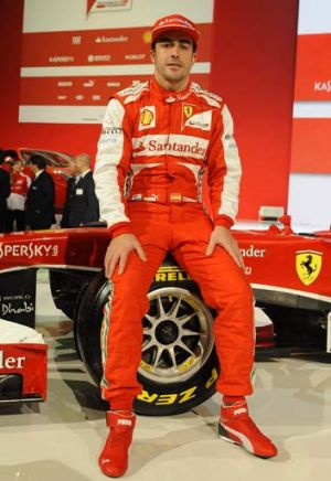 Fond farewell ... Fernando Alonso with the Ferrari F138, named for the year and eighth and last season of V8s.
