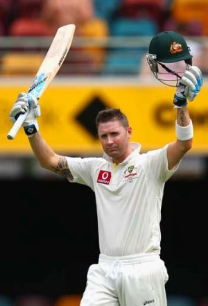 Michael Clarke ... celebrates during the First Test match between Australia and South Africa at The Gabba.