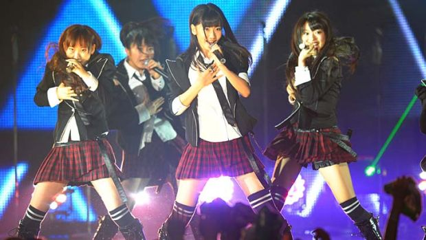 AKB48 perform during the MTV Video Music Aid Japan at Makuhari Messe in 2011 in Chiba, Japan.
