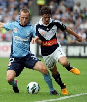 On the ball: Melbourne Victory's Marcos Rojas (right) has been an outstanding performer.