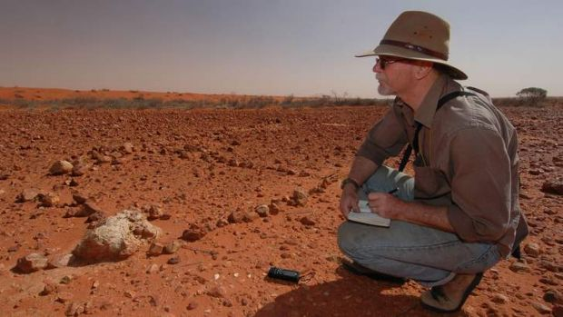 Mike Smith at work in the Simpson Desert.