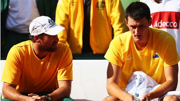 Will there be a reunion? ... Bernard Tomic and team captain Pat Rafter.
