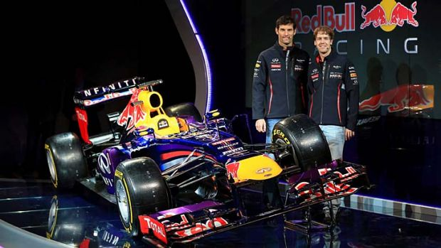 Mark Webber and Sebastian Vettel with the new Red Bull car.
