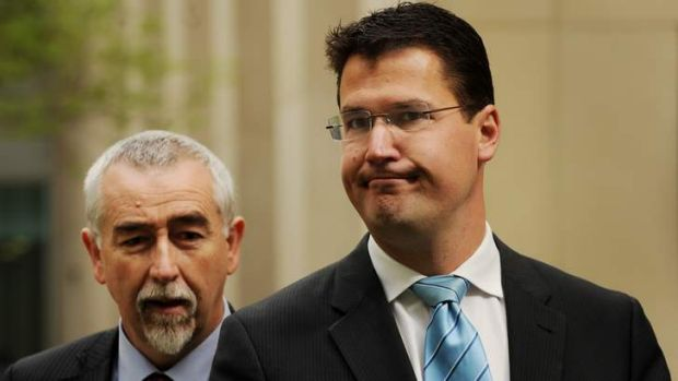 Gary Humphries and Zed Seselja in the Senate courtyard at Parliament House in October 2012.