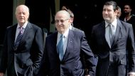 Eddie Obeid arrives at the ICAC hearing flanked by his lawyers , including Stuart LittlemorePhoto Michele MOssopMon ...