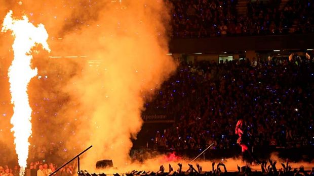 Star of the show ... singer Beyonce performs at the Super Bowl.