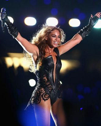 A triumphant Beyonce acknowledges the Super Bowl crowd.