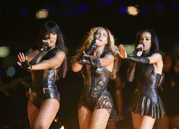 Beyonce (C) and Destiny's Child perform during the half-time show of the NFL Super Bowl.