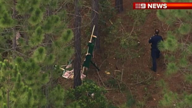 The wreckage was found after the 56-year-old female pilot set out for a joy flight over the Glass House Mountains on Sunday.