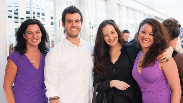 Josh Maldenis and Andi Thomas (centre) flanked by fellow <i>My Kitchen Rules</i> contestants Lisa Clarke (left) and ...