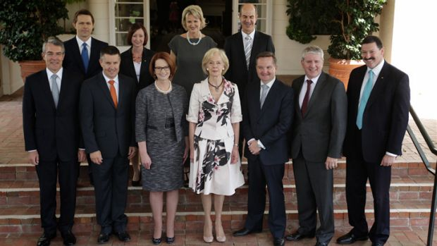 Julia Gillard and Quentin Bryce with the new line-up.