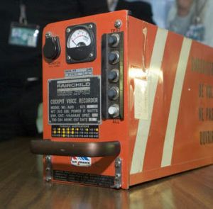 A black box flight recorder, invented by David Warren.