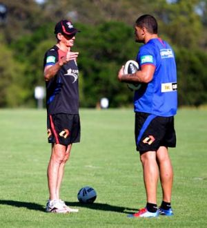 Pointers ... Willie Mason with All Stars and Knights coach Wayne Bennett.