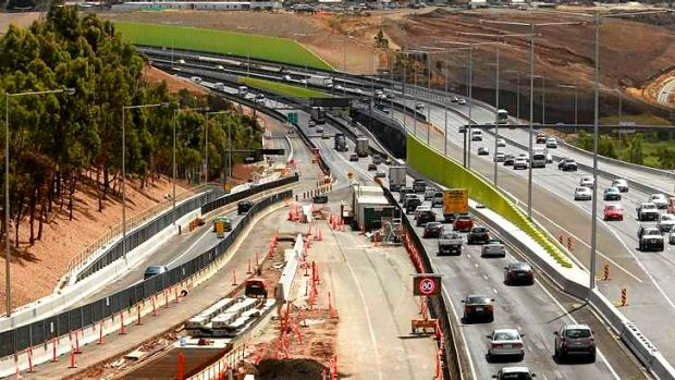The Western Ring Road during construction from the Pascoe Vale Road overpass.