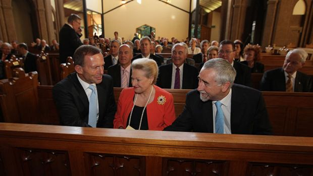 Opposition Leader Tony Abbott with Liberal MP Bronwyn Bishop and ACT Senator Gary Humphries.