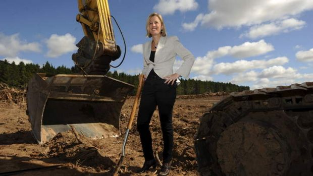 ACT Chief Minister Katy Gallagher at the first sod being turned on the Majura Parkway.