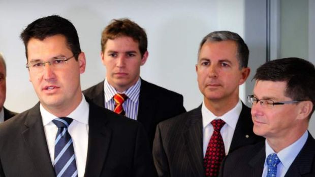 From left, ACT Liberal leader Zed Seselja, Alistair Coe, Jeremy Hanson and  Brendan Smyth.