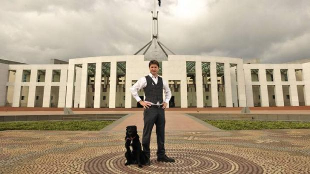 Steven Bailey and his dog Bruce at Parliament House.