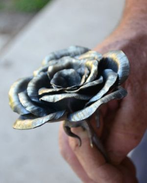 A finished rose for Norway, created by Bruce Beamish.