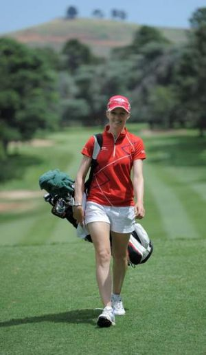 Local golf pro Nikki Campbell at Royal Canberra Golf Club.