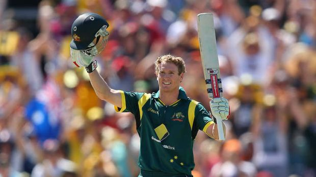 George Bailey of Australia celebrates his century during game two of the Commonwealth Bank One Day International Series ...