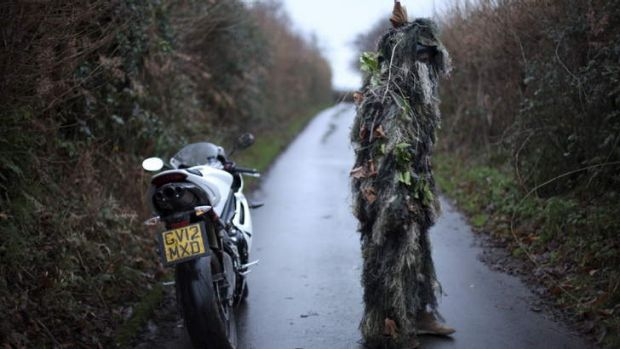 Still from the Shaun Gladwell's video <i>Jack in the Green</i>, 2013.