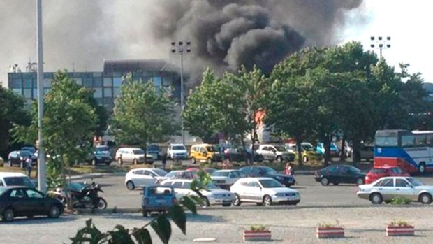 Smoke after the bombing at Bulgaria's Burgas airport on July 18, 2012.