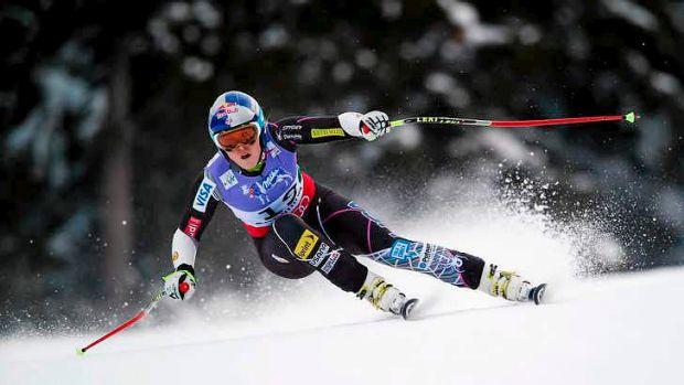 Lindsay Vonn of the USA competing in Super G event just before crashing.