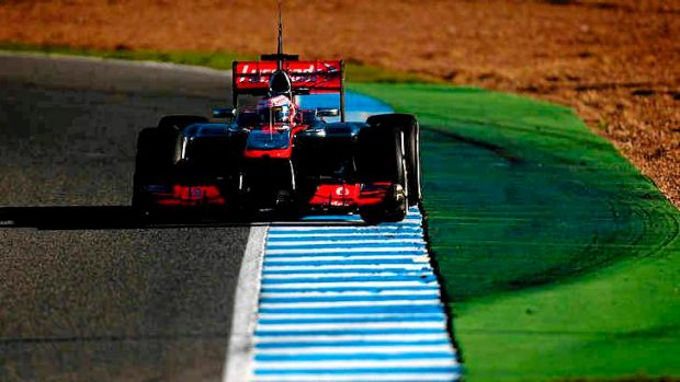 Pace setter ... Jenson Button on the Circuito de Jerez.
