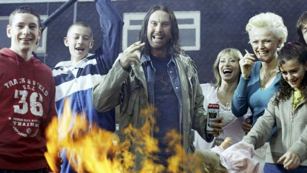 David Threlfall (centre) stars as Frank Gallagher in the British series of Paul Abbott's autobiographical  ...