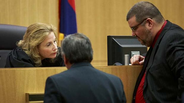 Weeks of lurid details ... Judge Sherry Stephens talks to prosecuting lawyer Juan Martinez and defence lawyer Kirk Nurmi.