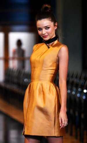 Miranda Kerr showcases designs by Ellery.