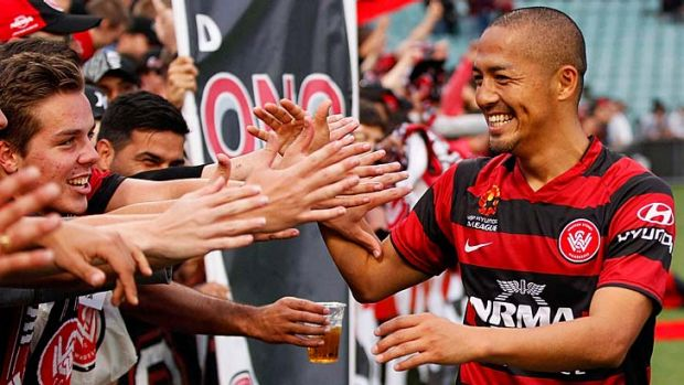 Big hit … marquee signing Shinji Ono laps up the adulation of the loyal Wanderers fans.